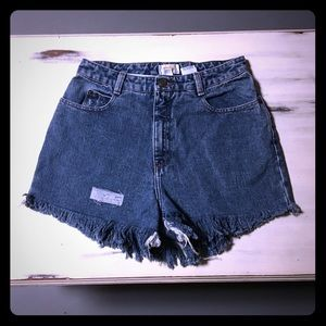 Distressed high waisted fringe jean shorts